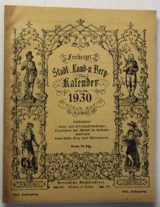 Original Freiberger Stadt-, Land- und Berg Kalender 1930 285. Jhg Kalendarium sf