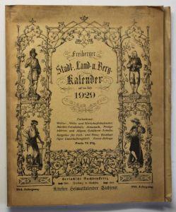 Original Freiberger Stadt-, Land- und Berg Kalender 1929 284. Jhg Kalendarium sf