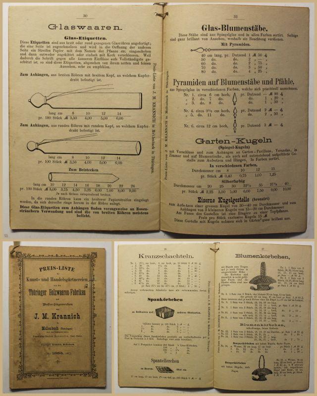 Original Prospekt Preisliste von den Thüringer Holzwaaren-Fabriken 1884 sf