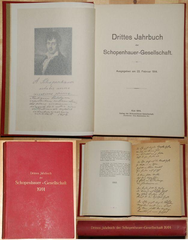 Drittes Jahrbuch Schopenhauer Gesellschaft 1914 mit faximilierten Briefen xx