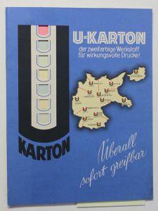 Original Werbeblatt U-Karton zweifarbige Werkstoff um 1935 Werbung Reklame sf