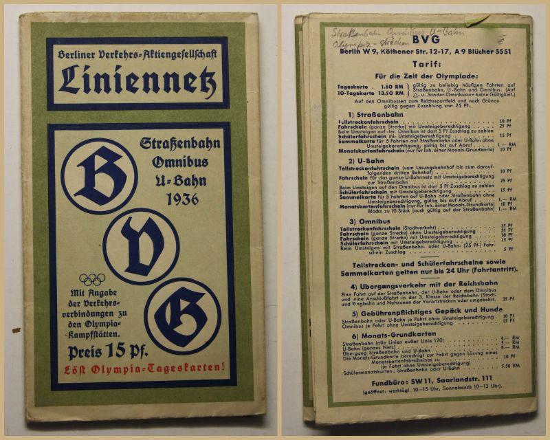 Original Broschur Liniennetz 1936 Straßenbahn Omnibus U-Bahn Olympia-Stadion sf