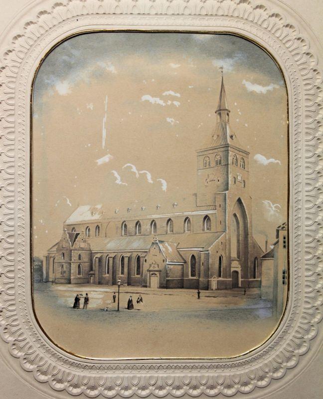 Handzeichnung Aquarelliert Kathedrale Kirche Dom um 1860 Odense Fünen Dänemark