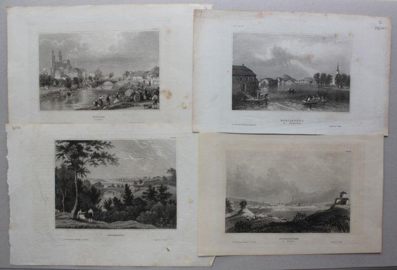 Konvolut von 5 Stahlstichansichten aus Schweden um 1840 Landschaften sf 0