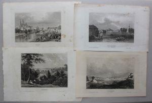 Konvolut von 5 Stahlstichansichten aus Schweden um 1840 Landschaften sf