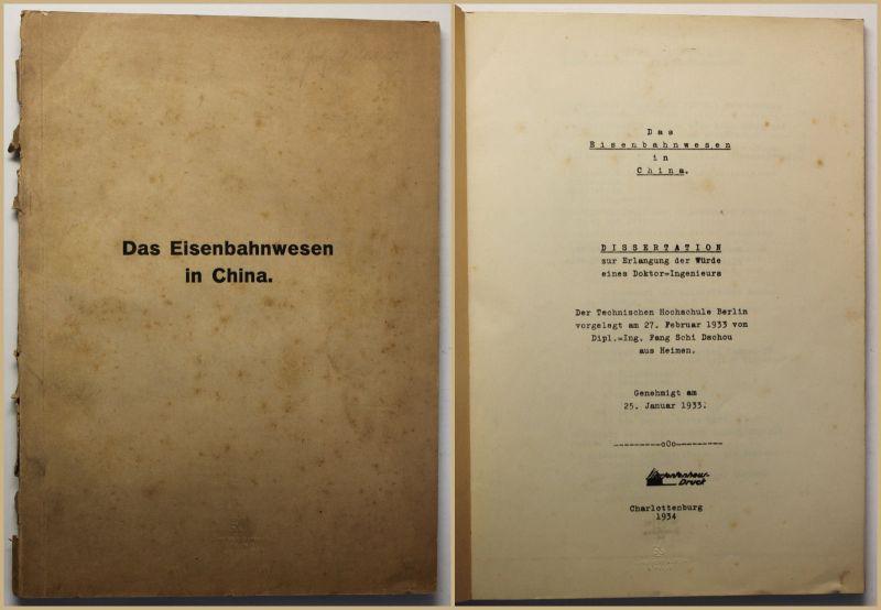 Dissertation von Fang Schi Dochou über das Eisenbahnwesen in China 1934 sf