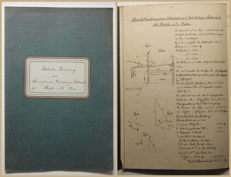 Hübler Statische Berechnung zum Ufermast und Rohrleitungs-Stützmast 1912  sf