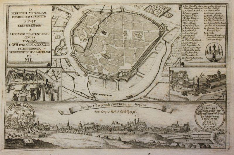 Kupferstichkarte von Bodenehr Prospect der Stadt Freyberg in Meißen 1743 sf