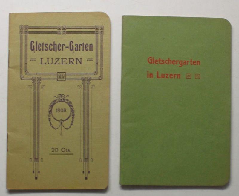 2 Orig. Prospekte Gletschergarten in Luzern 1908 & 1927 Schweiz Ortskunde sf