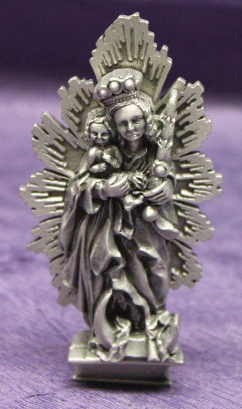 Zinnfigur Maria mit Krone & Jesuskind um 1945 Religion Deko Standfigur sf