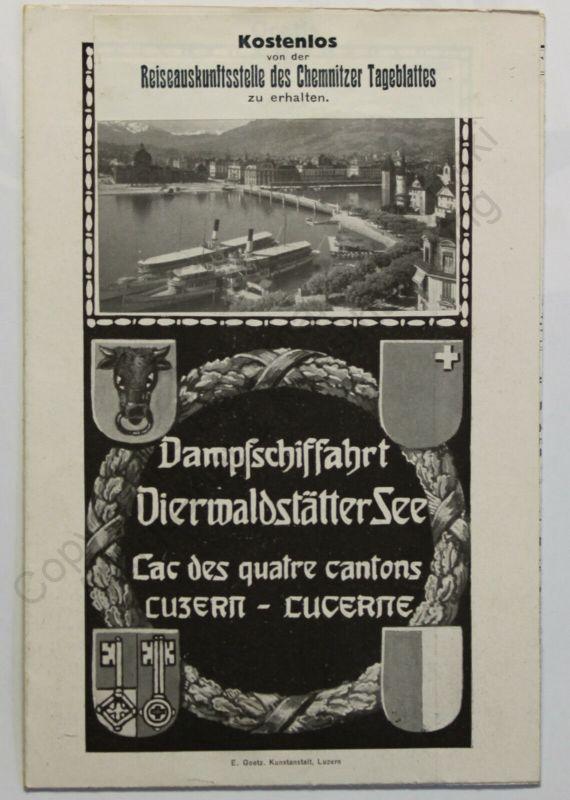 Prospekt Reklame Dampfschiffahrt Vierwaldstätter See Schweiz 1913 Fahrplan xz