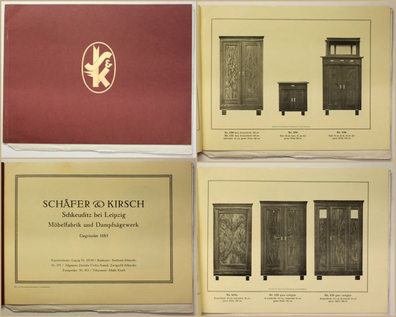 Original Katalog von Schäfer & Kirsch Möbelfabrik Schlafzimmer um 1930 sf