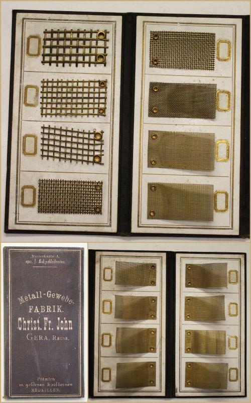 Musterkarte/ Musterbuch Metall-Gewerbe-Fabrik Christ. Fr. John um 1880 sf