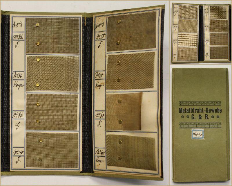 Musterkarte/ Musterbuch Metalldraht-Gewerbe G&R um 1910 Messing Handwerk sf
