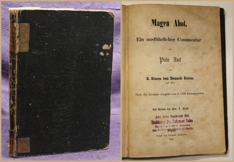 Duran Sfer Mgn bt: We-h prû al massekel bt, aer ibbr. 1855 Judentum Judaika sf