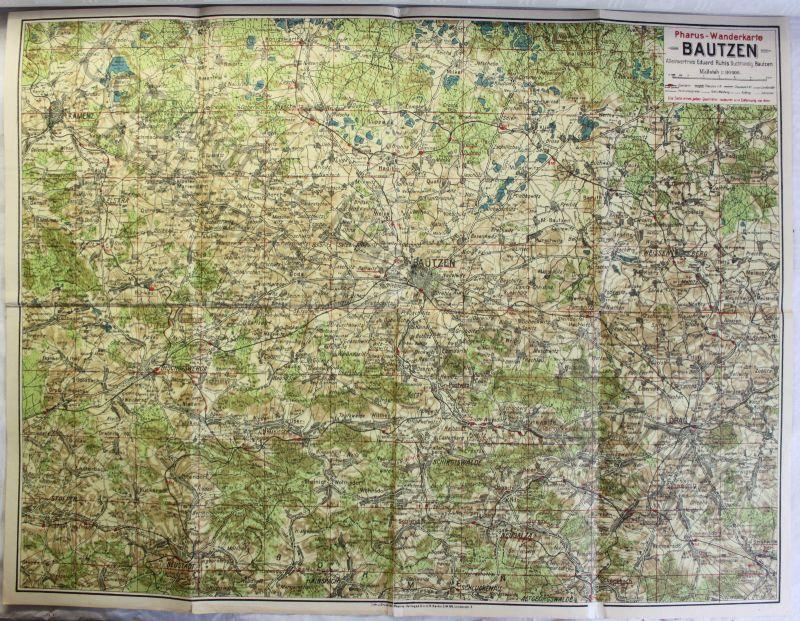 Pharus-Plan Bautzen & Umgebung um 1925 Landkarte Stadtplan 1:80000 Sachsen xz