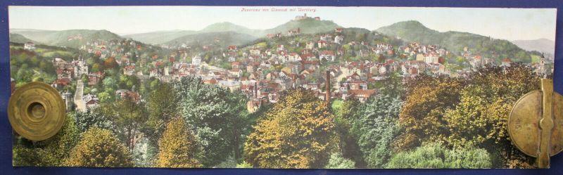 Kolorierte Lithografie Panorama von Eisenach AK 1910 Chromolithographie sf
