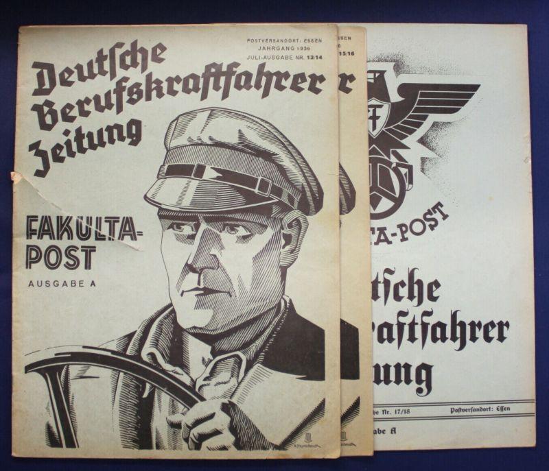 Original Prospekte Deutsche Berufskraftfahrer 1936 3 Hefte Geschichte Verkehr sf