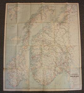 Original Bahn- & Straßenkarte von Norwegen 1926 Landeskunde Geografie sf