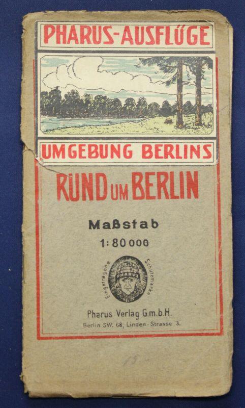 Pharus-Plan Berlin um 1910 Maßstab 1:80000 Stadtplan mit Straßenverzeichnis sf
