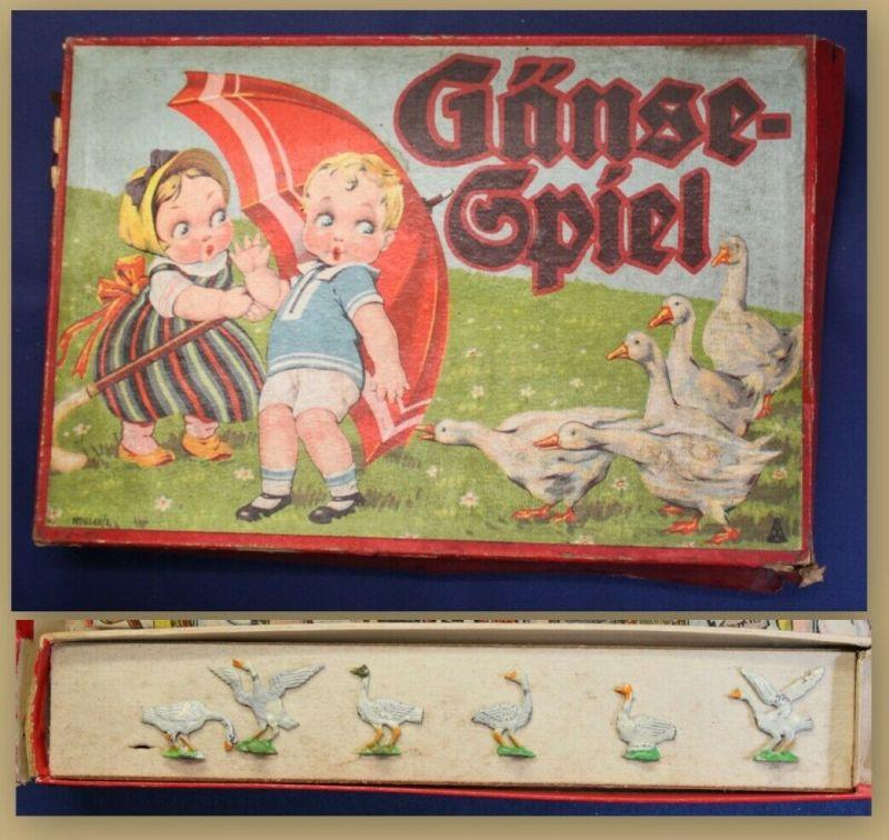 Seltenes Gänse- Spiel mit 6 Zinnfiguren um 1930 Gesellschaftspiel sf