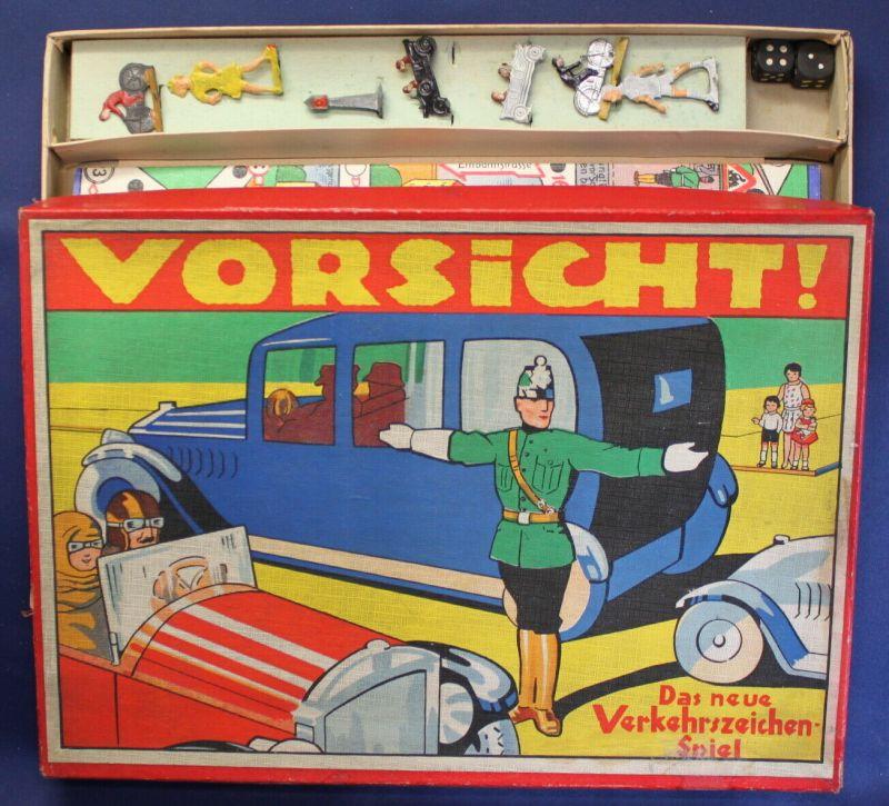 Vorsicht! Das neue Verkehrszeichen- Spiel um 1930 Gesellschaftspiel sf