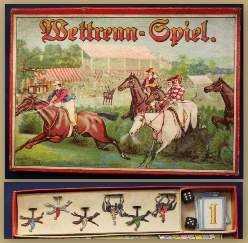 Das Wettrenn- Spiel komplett von Spear & Söhne um 1930 Gesellschaftspiel sf