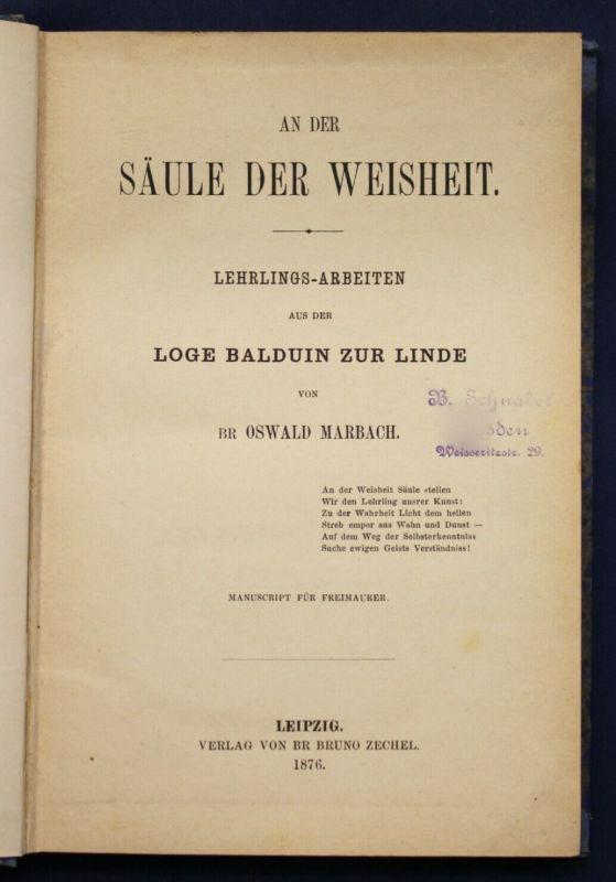 Marbach An der Säule der Weisheit 1876 Leben Natur Gesellschaft Glauben sf