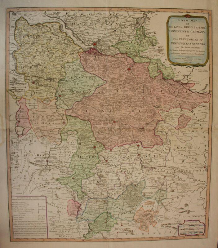 Altkolorierte Kupferstichkarte Jefteuys A new Map of Brunswick-Luneburg 1789 sf