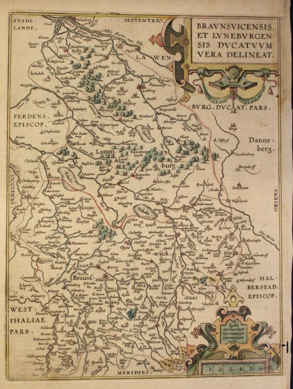 Kolor. Kupferstichkarte Ortelius Braunsvicensis et Luneburgensis um 1590 sf