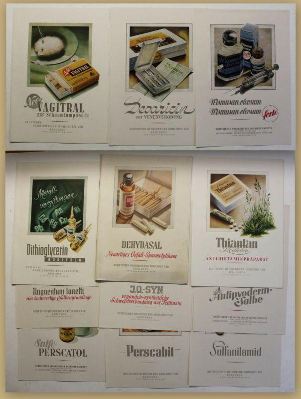 Original Sammlung von 13 Werbeblättern/Broschüren Pharmazie um 1950 Medizin sf