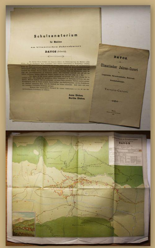 Chromolithographischer Plan Davos 1886 Schweiz Geografie Geographie Ortskunde sf