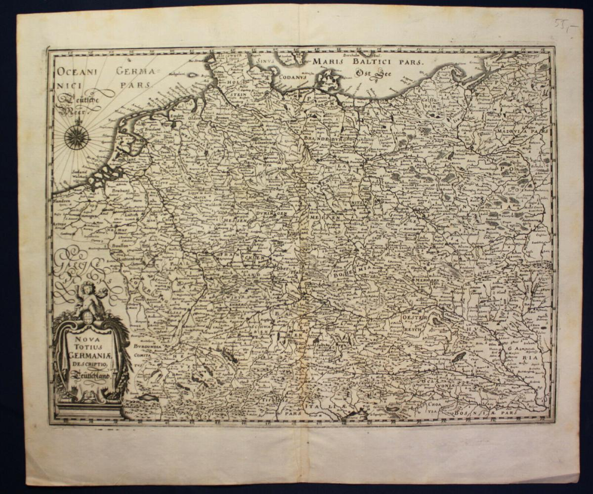 Kupferstichkarte von Merian Nova Totius Germaniae descriptio um 1640 sf