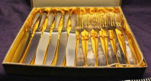 12 teiliges Besteckset für 6 Personen 20er/30er Jahre Art Deco versilbert  sf