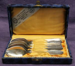 6x Löffel in Schachtel 1920 Jahre Art Deko Bauhaus Silber Besteck sf