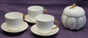 3 Tassen + Zuckerdose mit Baumrindenmuster um 1900 Porzellan Keramik Geschirr sf