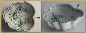 Blattschale Meißen indisch grün um 1934 1. Wahl Porzellan Keramik Sachsen sf
