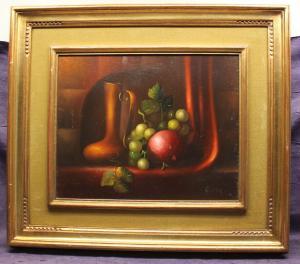 Herdin Radtke Früchtestilleben um 1980 Öl auf Holz Kunst Malerei Technik sf