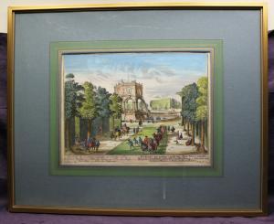 Martin Engelbrecht  Französischer Garten um 1761 altkolorierter Kupferstich sf