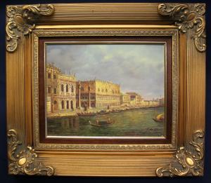 Hanke Blick auf Palazzo Durale o.J. Öl auf Holz Kunst Malerei Technik sf