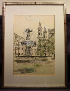 2 aquarellierte Federzeichnungen Mackiewicz von München 1991 Kunst Malerei sf