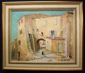 Öl auf Leinwand Andre Suzanne Straße in Menton Südfrankreich Kunst Malerei sf