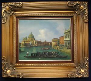 Öl auf Holz Venedig Blick auf Basilika St. Maria o.J. Kunst Malerei Technik sf