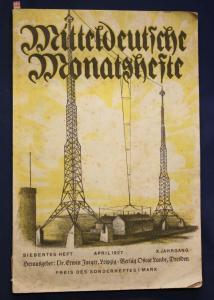 Jaeger Mitteldeutsche Monatshefte 7. Heft/ X. Jhg. 1927 Geschichte Kunst sf