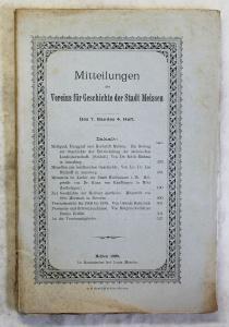Mitteilungen Verein für Geschichte Meißen 7.Bd 1909 Apotheke Ortskunde Sachsen
