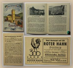Liederheft  Rüdesheim am Rhein + seltenes Werbeblatt mit Chronik Roter Hahn xy