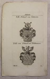 Kupferstich Wappen Familie Edle Schmid v. Zabieron & Holzhammer 1825 Heraldik xz