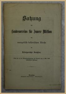 Orig. Prospekt Satzung des Landesvereins für Innere Mission 1908 Geschichte xy