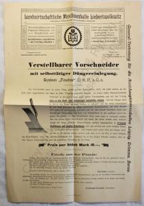Originial Werbeblatt Landwirt. Maschinenhalle Liebertwolkwitz Vorschneider 1910