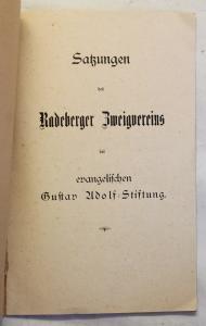 Satzung Radeberger Zweigverein der evangelischen Gustav Adolf-Stiftung 1901 xz
